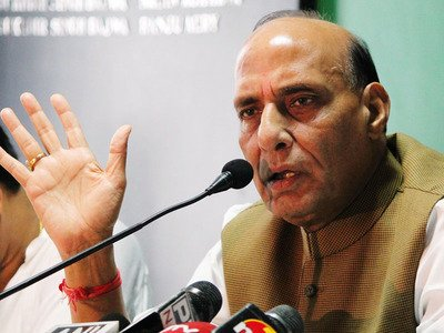 BJP leader Rajnath Singh during meet the press programme at Chandigarh Press club sector 27 Chandigarh. PHOTO COURTESY: THE TIMES OF INDIA