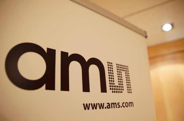 The logo of the multinational semiconductor manufacturer AMS (Austria Mikro Systeme) is seen during a annual news conference, in Zurich, Switzerland February 6, 2018. PHOTO: REUTERS