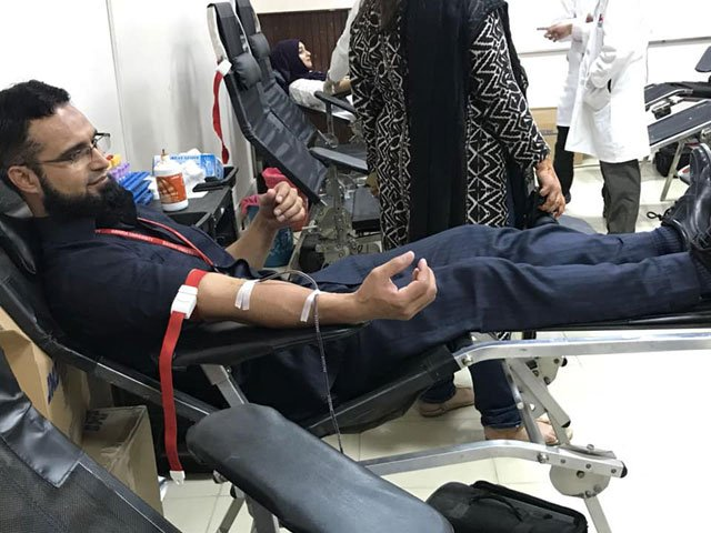 Those opting to donate blood were required to go through screening as per the criteria set by experts. PHOTO: BAHRIA UNIVERSITY