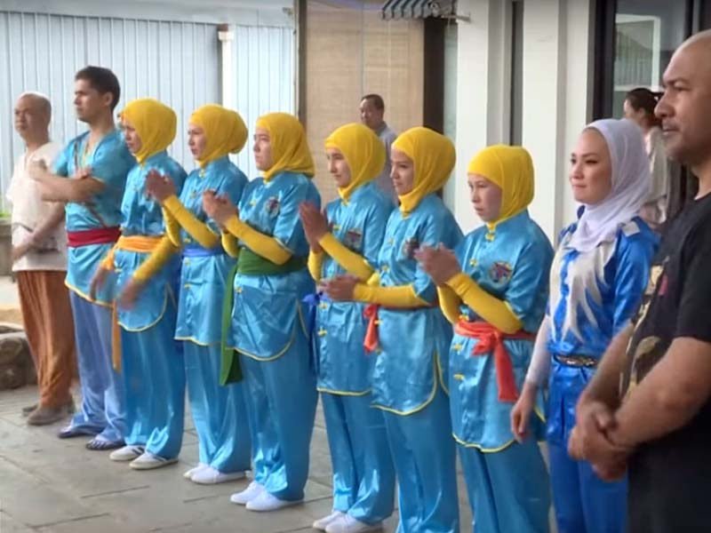 The women's team experienced authentic Chinese Kung Fu. SCREENGRAB: XINHUA