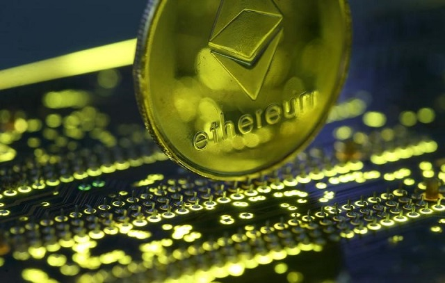 Representation of the Ethereum virtual currency standing on the PC motherboard is seen in this illustration picture, February 3, 2018. PHOTO: REUTERS