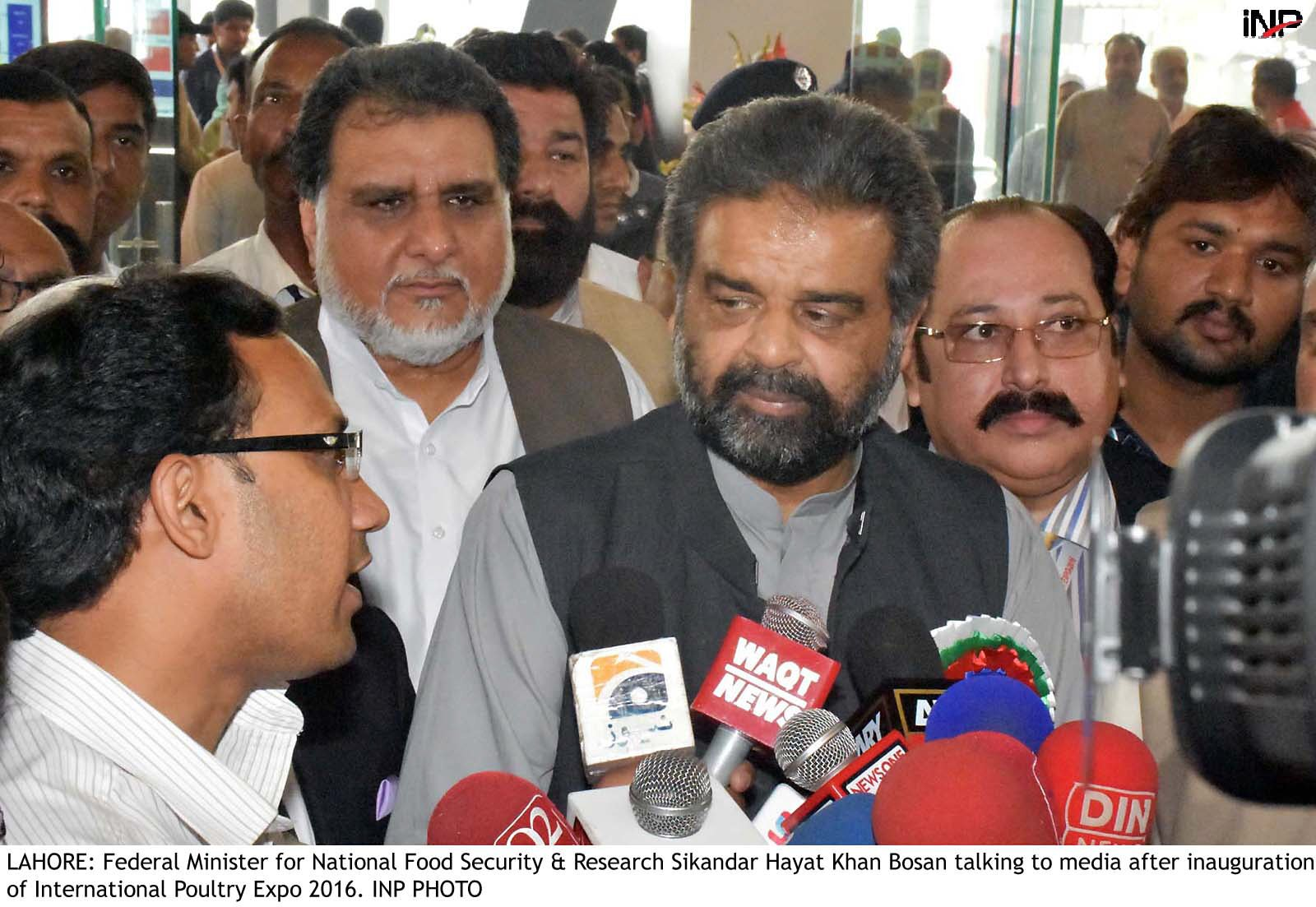 Federal Minister for National Food Security and Research Sikandar Hayat Khan Bosan talking to media  PHOTO INP