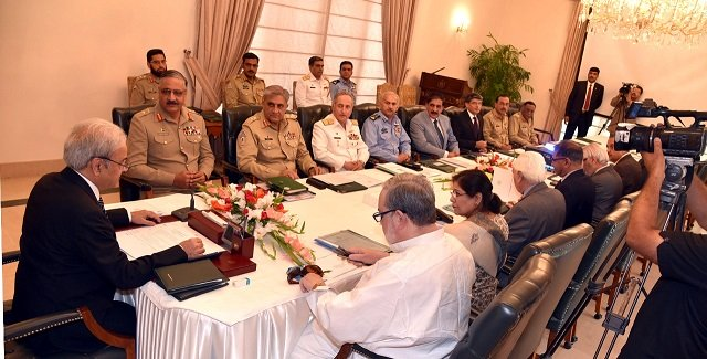 Interim PM Mulk, COAS, Chief of Navy, others attend NSC PHOTO: PM OFFICE