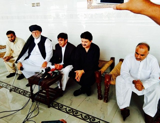 The meeting took place at the residence of Shahjee Gul Afridi in Peshawar's Hayatabad area on Tuesday. PHOTO: EXPRESS