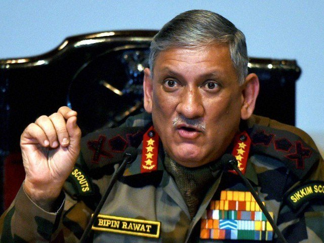 General Rawat says he is in favor of the dialogue that would aid in breaking the cycle of recruitment of more Kashmiri youth by terror groups  PHOTO: EXPRESS