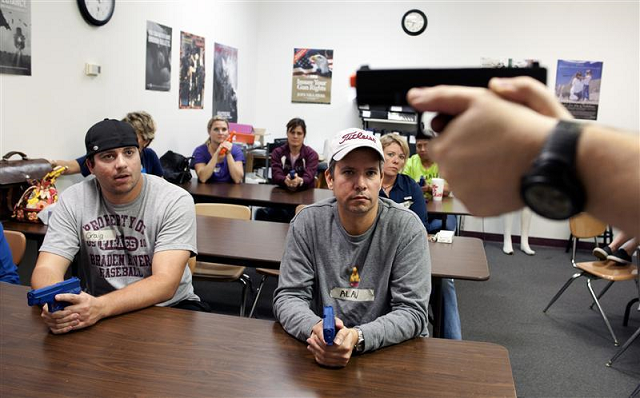 This week, 24 Colorado school staff, including principals, teachers and pastors, attended a three-day training led by four active duty law enforcement officers.  PHOTO: REUTERS