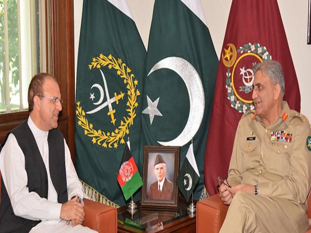 COAS Bajwa with Afghan envoy. PHOTO: ISPR
