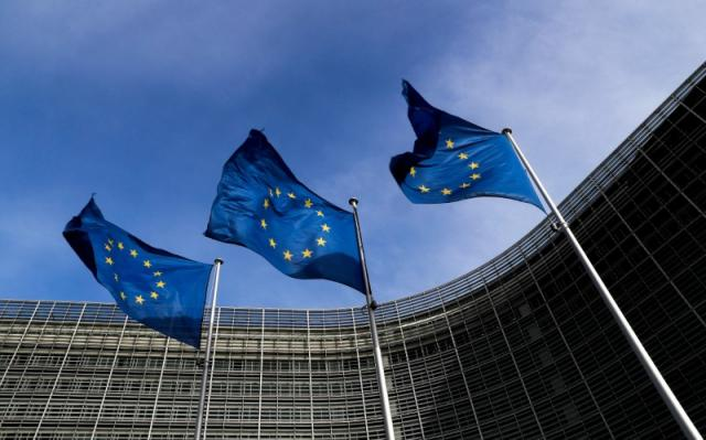European Union commends Pakistan in its struggle to combat violent extremism and terrorism. European Union Flags are pictured here. PHOTO: REUTERS