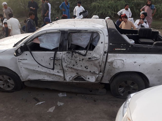 The convoy was targeted with explosives planted on a motorcycle in its path. PHOTO: EXPRESS