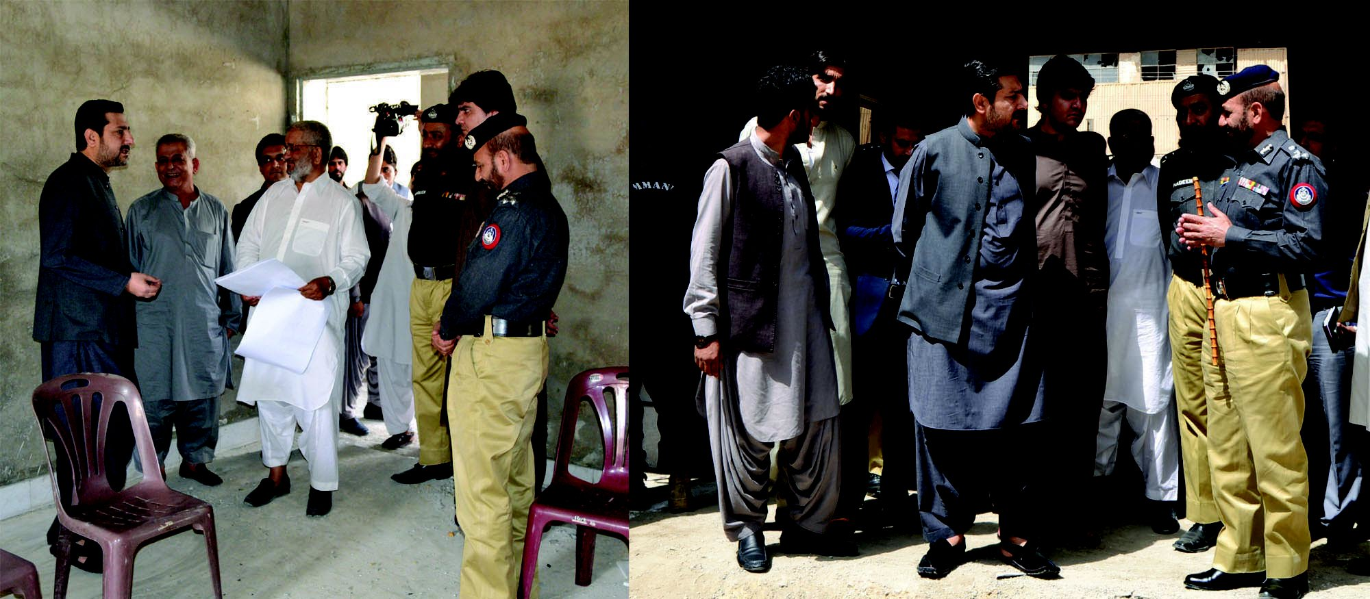 Caretaker Balochistan Chief Minister Alauddin Marri interacts with officers during his visit to the under-construction Gawalmandi police station. PHOTO: EXPRESS