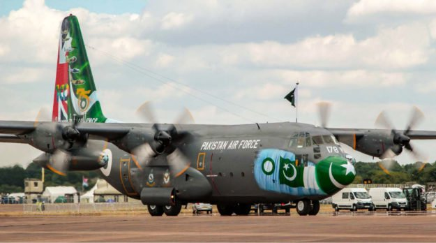 PAF C-130 aircraft participating in the Royal International Air Tattoo 2018. PHOTO: PAF