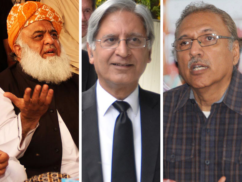 The 2018 presidential candidates, Fazlur Rehman, Aitzaz Ahsan and Arif Alvi. PHOTO:FILE