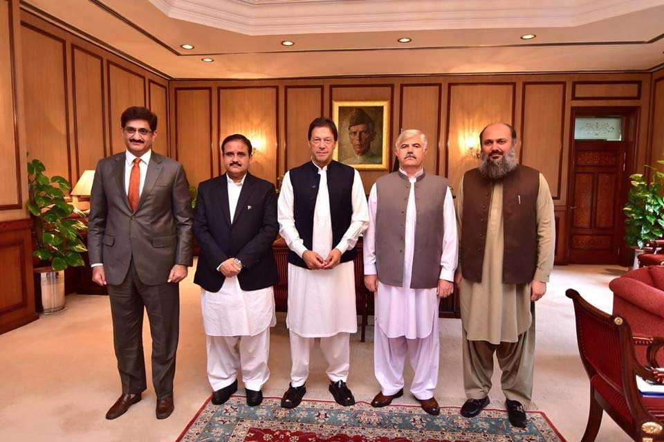 PM Imran Khan with chief ministers of all four provinces. PHOTO: RADIO PAKISTAN