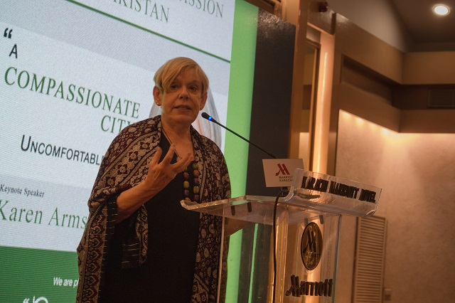 Religious scholar Karen Armstrong delivers a lecture at Marriott Hotel in Karachi. PHOTO: EXPRESS