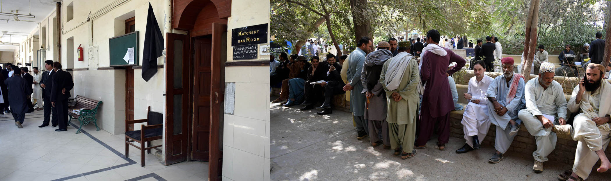 Applicants wait outside the court for justice due to the lawyers' strike. PHOTO: EXPRESS