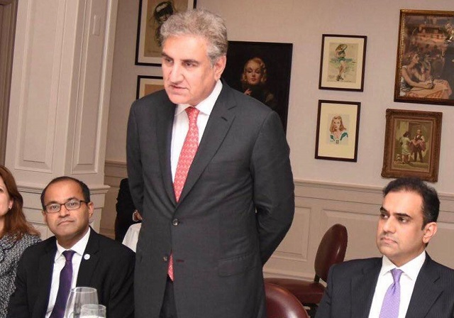 Shah Mehmood Qureshi adressing the Atlantic Council in New York on September 27, 2018. PHOTO:INP/FILE