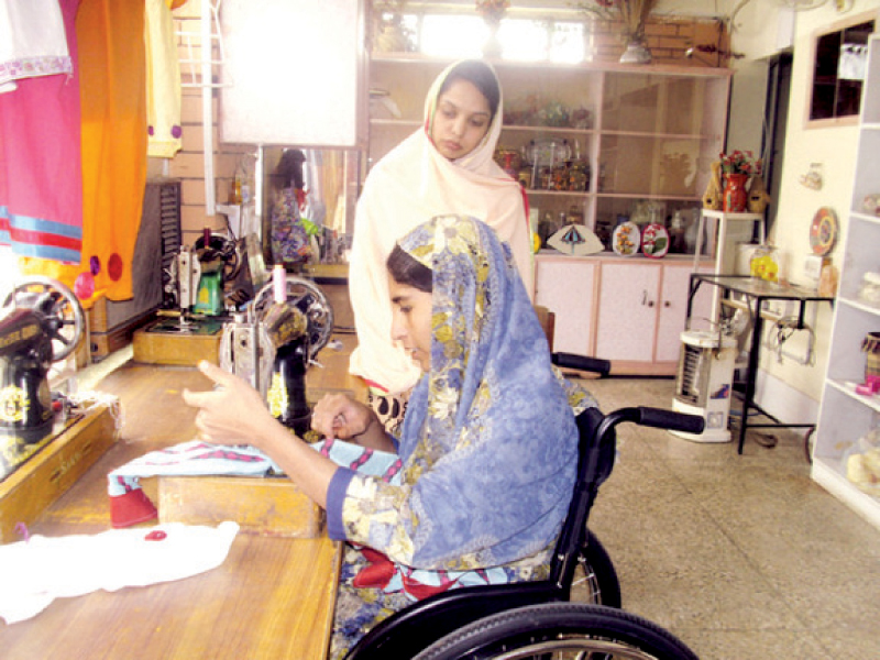 Shaheen Begum receives skills training at the PPC paraplegic centre in Hayatabad in northern Pakistan. PHOTO: IPS
