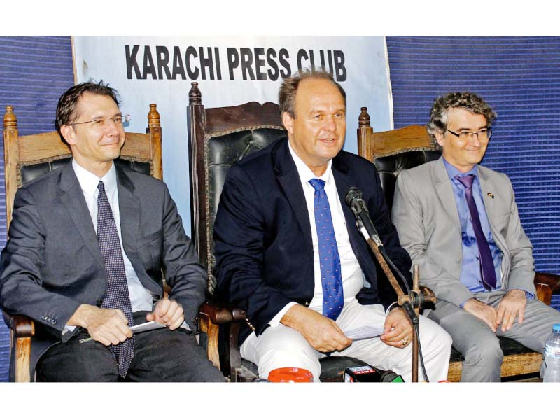 German Consul-General Eugen Wollfarth addresses a press conference at the Karachi Press Club to announce the start of German Weeks on Monday. PHOTO: PPI