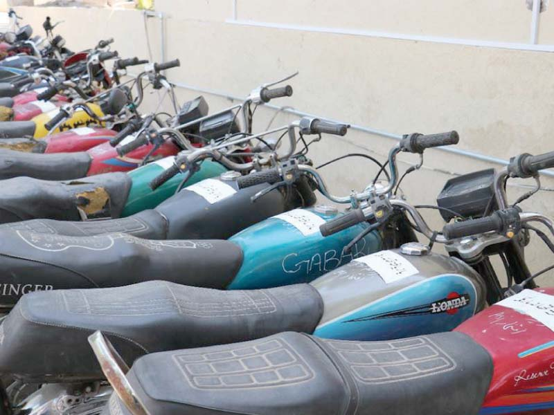 Bikes recovered from thieves are seen parked. PHOTO: EXPRESS