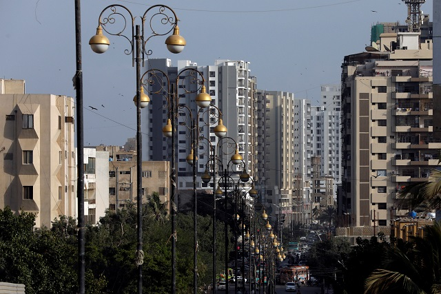 Street lights line a road in Clifton, Karachi. PHOTO:REUTERS