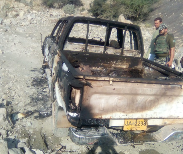 They were shot by unidentified armed men and left to die in a vehicle which was also set on fire. PHOTO: EXPRESS