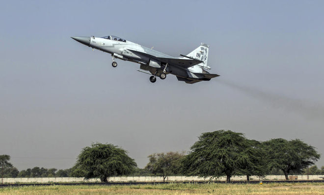 In this file photo, a JF-17 Thunder fighter jet of the Pakistan Air Force takes off from Mushaf base in Sargodha, north Pakistan, on June 7, 2013. PHOTO: REUTERS