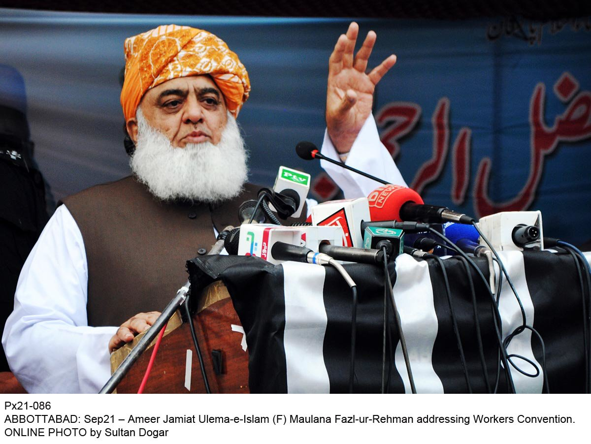 PTI is a burden on Pakistan, says MMA chief. PHOTO: ONLINE
