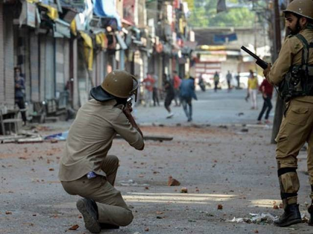 Indian police clash with Kashmiri protesters in Srinagar. PHOTO: AFP/FILE