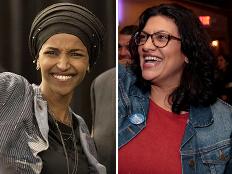 Ilhan Omar and Rashida Tlaib, the first two Muslim women to be elected to the US Congress. PHOTO:AFP?REUTERS