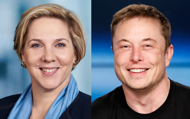 Robyn Denholm and Elon Musk. PHOTO: REUTERS