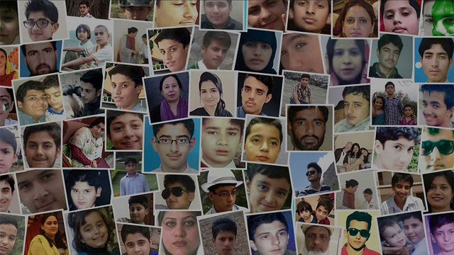 Photographs of the victims of the APS attack, PHOTO: RADIO PAKISTAN