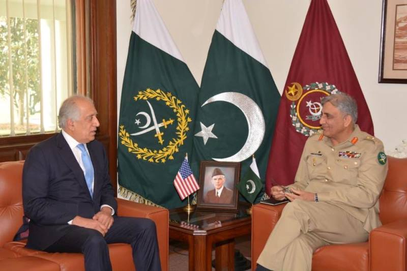 Special envoy for Afghan reconciliation Zalmay Khalilzad in a meeting with army chief General Qamar Javed Bajwa. PHOTO: ISPR