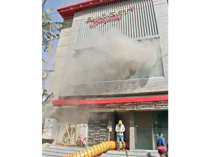 The store filled up with smoke after the fire, which took eight hours to be put out. PHOTO: ONLINE