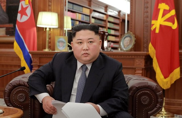 This picture released by North Korea's official Korean Central News Agency (KCNA) shows North Korean leader Kim Jong Un delivering an address to mark the New Year at an undisclosed location on January 1, 2019. Photo: AFP