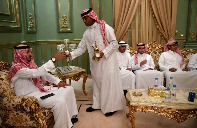 Saudis attend the wedding of a friend at his home in the Red Sea resort of Jeddah. PHOTO: AFP