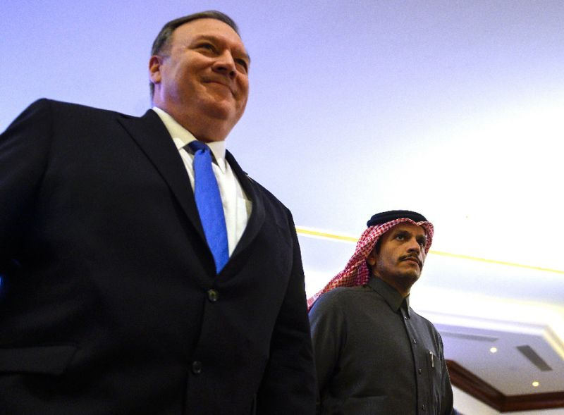 US Secretary of State Mike Pompeo and Qatari Foreign Minister Mohammed bin Abdulrahman Al-Thani arrive for a joint press conference in Doha, Qatar. PHOTO: AFP
