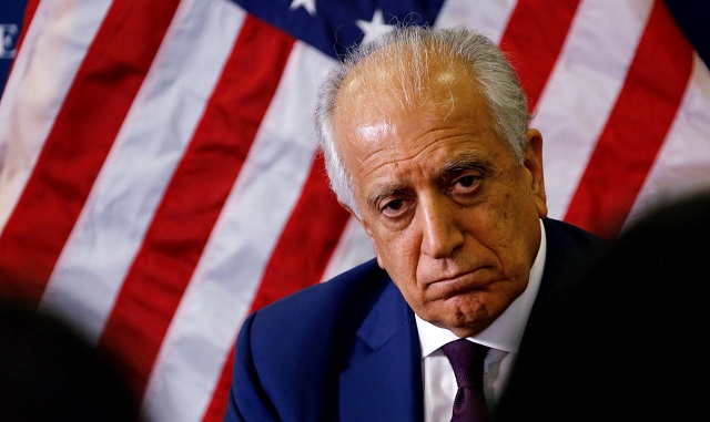 US special envoy for peace in Afghanistan, Zalmay Khalilzad, talks with local reporters at the U.S. embassy in Kabul, Afghanistan. PHOTO:REUTERS