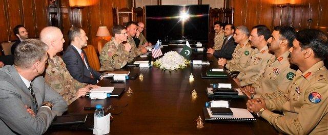 Pak-US military hold talks in Rawalpindi,GHQ to discuss Afghan peace process. PHOTO: ISPR