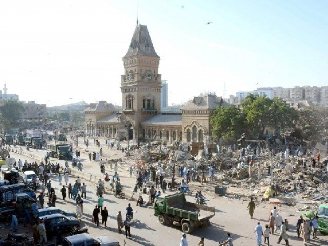 Shops and other encroachments being cleared in the surroundings of Empress Market on November 12. PHOTO: FILE