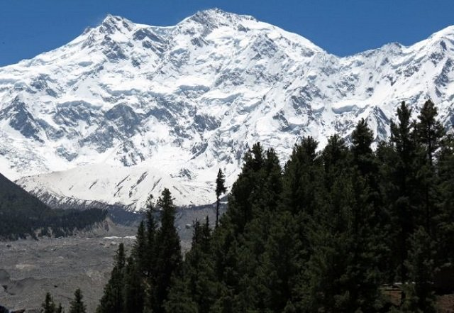 View of Nanga Parbat  (the ninth highest mountain in the world at 8,126 metres above sea level) located in Pakistan, the Hindu Kush Himalaya (HKH) range is described as the 'water tower of Asia' due to its glaciers and frozen ice reserves. PHOTO: AFP