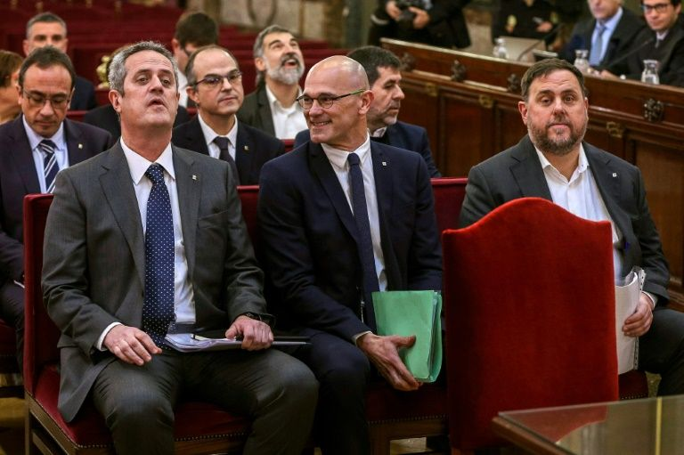 The former Catalan separatist leaders went on trial in Madrid for their 2017 independence bid. PHOTO: AFP