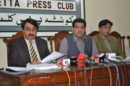Information Minister Zahoor Buledi during press conference in Quetta. PHOTO: ONLINE