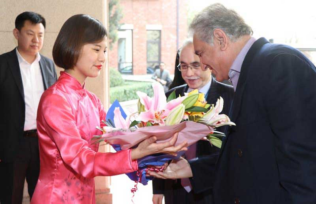 Chinese envoy Mr. Yao Jing, Ambassador to China Masood Khalid and other embassy officials welcomed FM Qureshi upon his arrival.  PHOTO: TWITTER/ @pid_gov