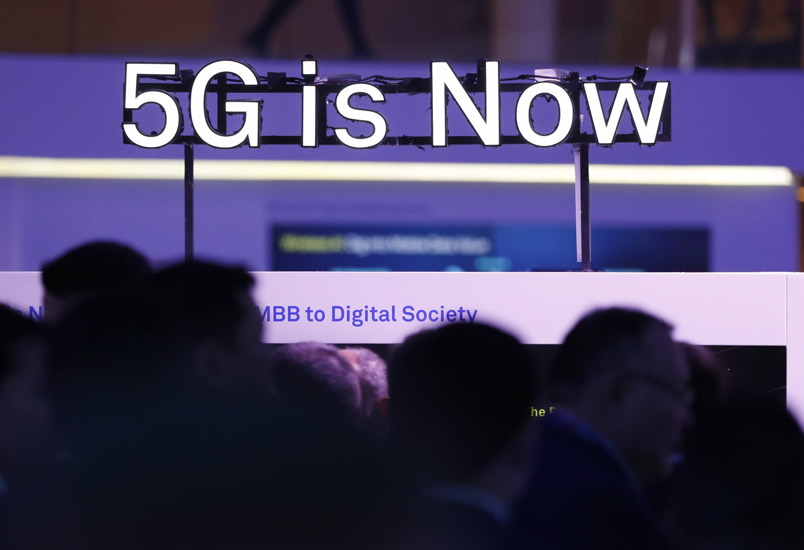 A 5G logo is displayed at the Mobile World Congress in Barcelona, Spain. PHOTO: REUTERS
