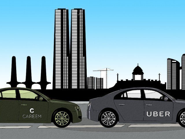 Animation of Careem and Uber. PHOTO: EXPRESS
