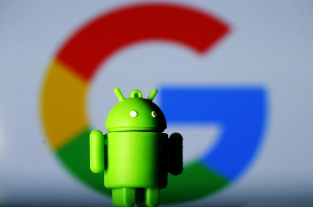 A 3D printed Android mascot Bugdroid is seen in front of a Google logo in this illustration taken July 9, 2017. PHOTO: REUTERS