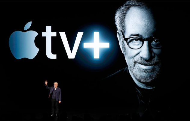 Director Steven Spielberg speaks during an Apple special event at the Steve Jobs Theater in Cupertino, California, US, March 25, 2019. PHOTO: REUTERS