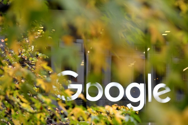 The Google name is displayed outside the company's office in London, Britain November 1, 2018.  PHOTO: REUTERS
