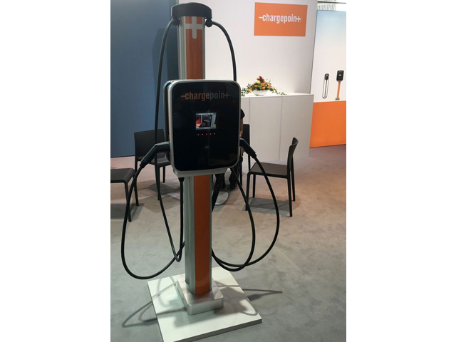 A ChargePoint station on display at the Frankfurt Motor Show (IAA) in Frankfurt, Germany, September 12, 2017. PHOTO: REUTERS