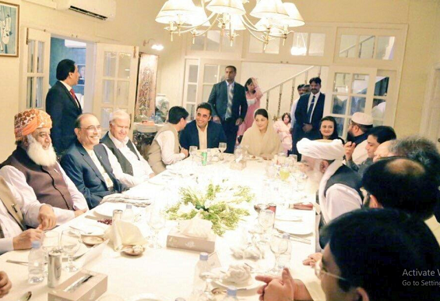 Leadership of opposition parties gather at Zardari House in Islamabad. PHOTO COURTESY: TWITTER/@PML-N